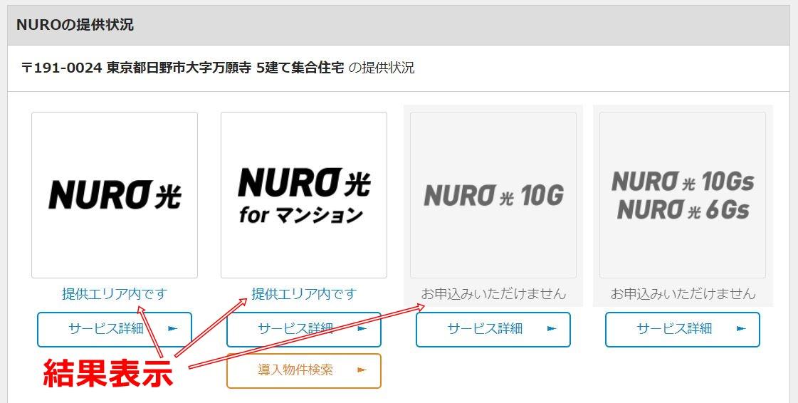 NURO光 マンション提供エリア